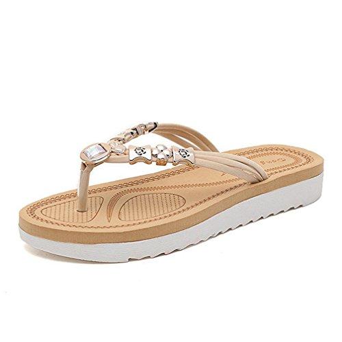 DM&Y 2017 piatta piatta Estate punta della clip con i sandali di strass perline e pantofole sandali scarpe da spiaggia meters white