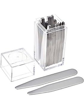 Zysta 40.Stück Kragenstäbchen Set aus hochwertigem Edelstahl 2 Größe mit original Etui