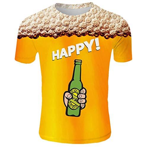 Feinny Individuelles Herren Oberteil T-Shirt Bluse Sale/Sommer Herren Beer Festival Rundhals Kurzarm 3D Prost Brief drucken T-Shirt Top/Orange/M-3XL