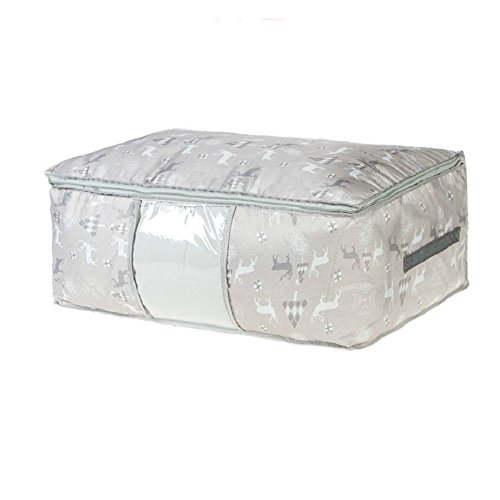 Milnut Oxford-Stoff Unterbetttasche mit Blumenmuster, große Kapazität, Schrank-Organizer, weiche Tasche, platzsparende Tasche für Kleidung, Bettdecken, Bettwäsche, Kissen, Vorhänge, grau, 59×39×22CM