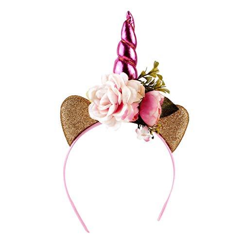 Sharplace Einhorn mit Ohren Blumen Haarreif Haarbänder Kinder Kopfschmuck Kopf Cosplay - Ohr-Pink