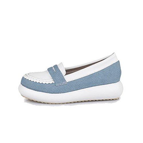 VogueZone009 Femme Couleurs Mélangées Matière Souple à Talon Bas Tire Rond Chaussures Légeres Blanc