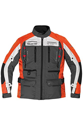 DIFI ATLAS AEROTEX® Motorradjacke Color dunkelgrau/orange/hellgrau/schwarz, Size XL
