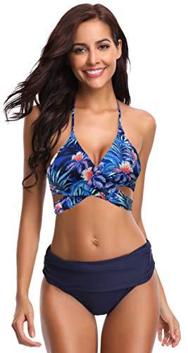 SHEKINI Damen Dunkle Farbe Geteilter Badeanzug Push up Bikini Set Neckholder Bikini Oberteil Mit High Waist Bikini Bottom Damen Badeanzug Sport Zweiteiliger Badeanzug (S, Dunkelblau-B) - Für Pushup Bikinis Sexy Frauen