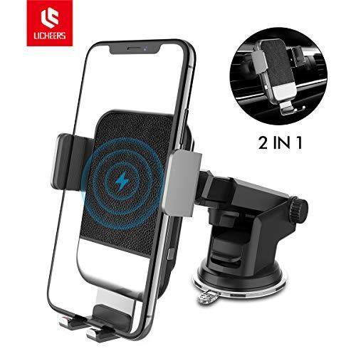 licheers Automatisch Wireless Charger Auto Handyhalterung, 2 in 1 Qi Induktions Ladegerät Handyhalter fürs Auto mit Lüftung & Saugnapfshalter für Qi befähigte Geräte (Schwarz)