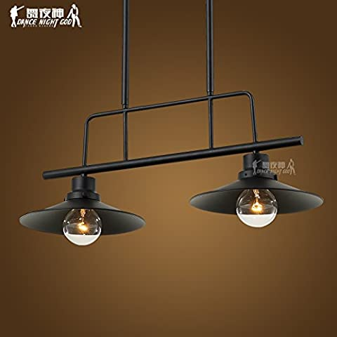 Lbcvh LOFT di stile Europeo e Vintage creativo industriale in ferro battuto lampadario abat-jour,2 testa (2 Ferro Loft)