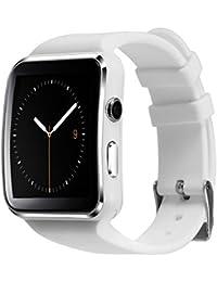Soloking T60 Smartwatch,Bluetooth 3.0 Reloj Inteligente 1.54''Curved Screen Fitness Tracker con Cámara,Sim/TF Tarjeta,Podómetro,SMS, Whatsapp,Facebook Notificaciones para Android y ios Teléfono Inteligente(blanco))