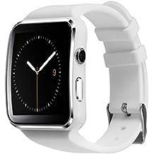 Soloking T60 Smartwatch,Bluetooth 3.0 Reloj Inteligente 1.54''Curved Screen Fitness Tracker con Cámara,Sim/TF Tarjeta,Podómetro,SMS, Whatsapp,Facebook Notificaciones para Android y ios Teléfono Inteligente(blanco)