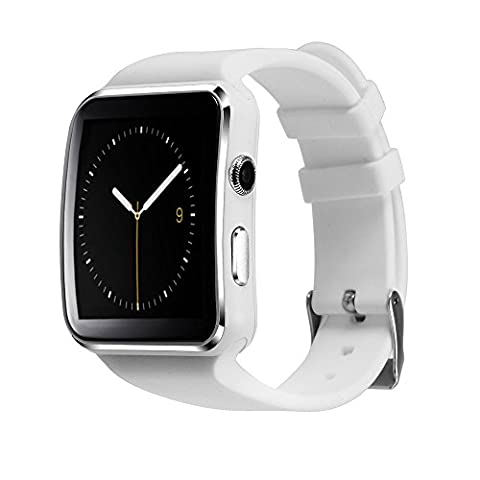 'Bluetooth 3.0 montre smartwatch pour Android, Wrist Watch Phone T60 1.54curved Screen avec camera SIM TF Card Slot Podomètre argent argent