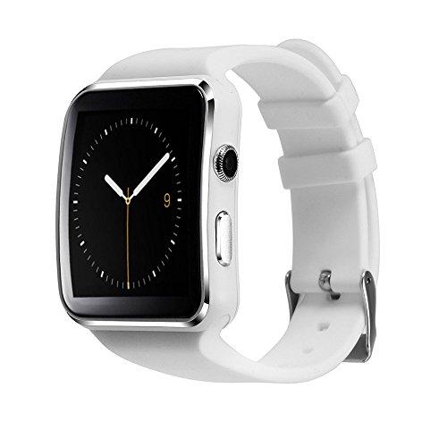 Bluetooth 3.0 Smartwatch,Soloking T60 Armband Uhr Telefon Fitness Tracker mit 1.54 Kurven Touch Screen,Kamera,SIM-Karten-Slot/TF,Schrittzähler,Schlaf überwachen,Whatsapp Push-Benachrichtigungen,Anti-Verloren für Android ios Smartphone(weiße)