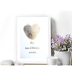 Poster Gold, Silber o. Kupfer Hochzeitsgeschenk personalisiert in DIN A4 oder DIN A3
