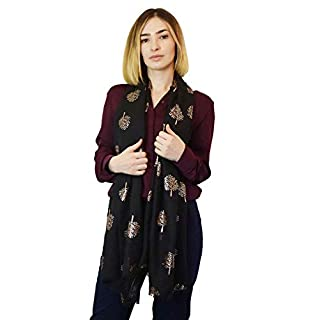 SEW ELEGANT NEW Ladies Women's Rose Gold Silver Foiled Tree Print Scarf Black