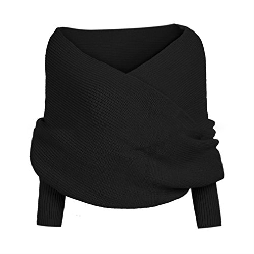Honghu Femme Manches Longues Strickjacke Pullover Lang Knit Cardigan Sweater Mantel Sweatjacke Poncho Noir