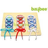 Baybee Wooden Board ShoeLace - Montessori Teaching AIds - Children Shoe Lace Educational Toy D