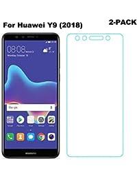 Songsong [2-Unidades] Huawei Y9 (2018) Protector de Pantalla, Protector de Pantalla Cristal Vidrio Templado para Huawei Y9 (2018) Screen Protector Alta Transparencia 3D Touch Sin burbujas