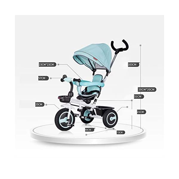 Qi Tai/ Baby trolley Children's Tricycle Bicycle 1-3 Years Old Baby Stroller 2-6 Baby Infant Child 3 Wheeler Large (color : G) Qi Tai The multi-function baby cradle can adjust the seat. Environmentally friendly and antibacterial fabrics are not easily torn or will not be allergic to baby's skin.  Seat: The seat is turned in two directions, easy to rotate, intimate every moment, facing the world to satisfy the baby's curiosity, and intimately interacting with the mother and the baby. 2