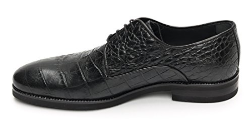 Muga Hommes chaussures à lacets crocodile regard-4229- Noir