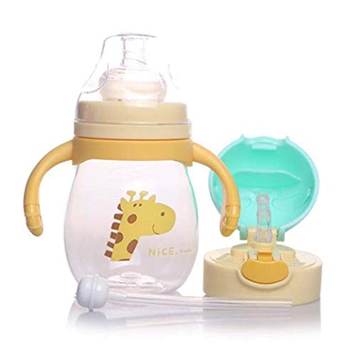 ertong-beiziop-01 320 ml Baby Kinder Stroh Fütterung Tasse Tritan Milch Tasse Tragbare Wärmflasche Reisebecher Trainingsbecher Lernen Trinken Sippy Tasse, Gelb