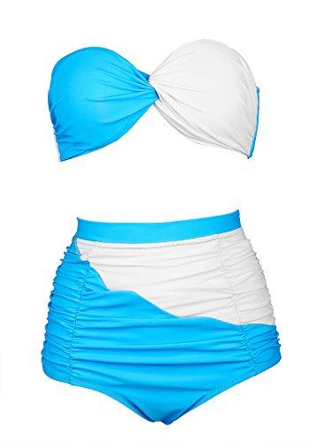 PU&PU Frauen Plus Size Beach Bikinis Zwei Stücke Set Badeanzug Patchwork Kontrast Hohe Taille Push Up Underwire Gepolsterte BH Blue