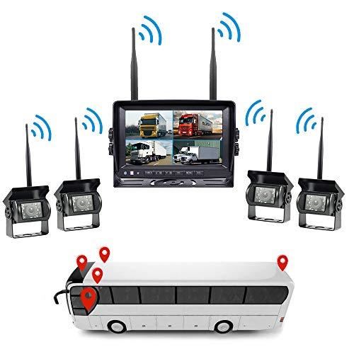 HD Rückfahrkamera System Kit, 4 × 7 '' Rückfahrkamera IP67 wasserdicht für Bus-Schulbus-Boden-Auto-LKW -
