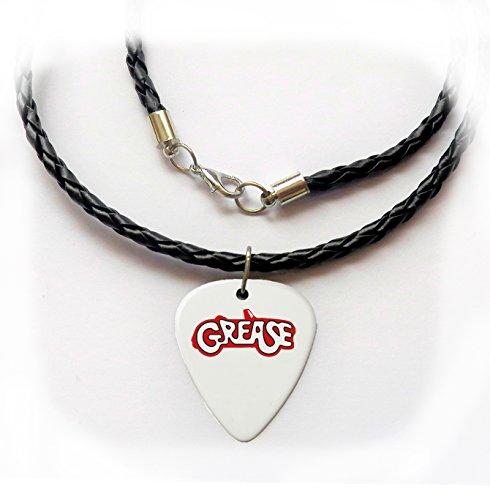 Fett John Travolta Gitarre Plektrum Halskette Twist Leder geflochten 50,8cm Olivia Newton (Travolta John Grease Kostüme)