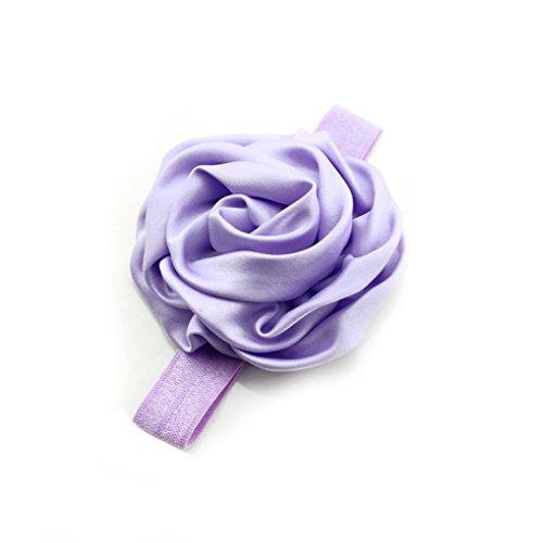 Demarkt Simple Serre-tête/Bandeau/ Headcloth Elastique avec Bouton à Fleur de Rose pour Bébé Enfant Violet Clair