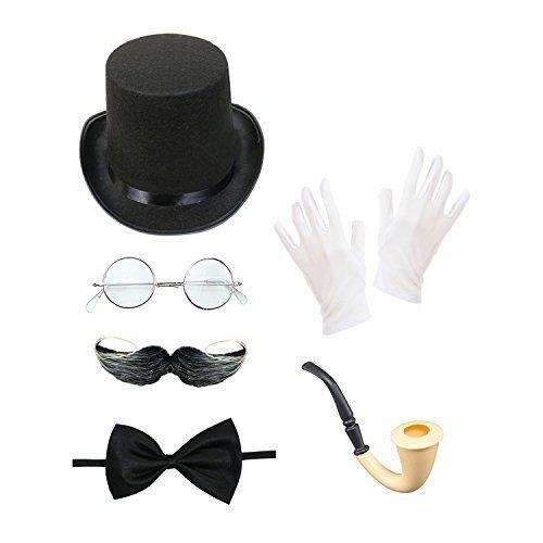 Herren Steampunk Kostüm Set (Zylinder, Brillen, Moustache, Fliege, Tabakpfeife & Handschuhe) (Steampunk Brille Kostüm)