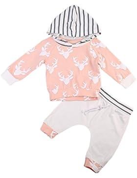 Infantil Niña Camisa de Manga Larga con Capucha Ciervo Impreso Sudadera y Pantalones Rayas