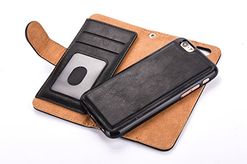 "Coque pour iPhone 6S plus Portefeuille, Housse en cuir de Mode iphone 6 plus 5.5"", iphone 6S plus Folio Flip Zipper Cover Case, MoreChioce Petite fermeture éclair Porte-monnaie Style Ultra mince Luxe  Noir"