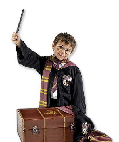 Kind Boy 's Harry Potter Kostüm und Stamm. Inklusive die Griffindor Bademantel, ein bedruckter Schal, Gläser Rahmen und ein Kunststoff Zauberstab. One Size Kinder Kostüm, passend zwischen ca. 6-10Jahren. (Potter Stamm Harry)