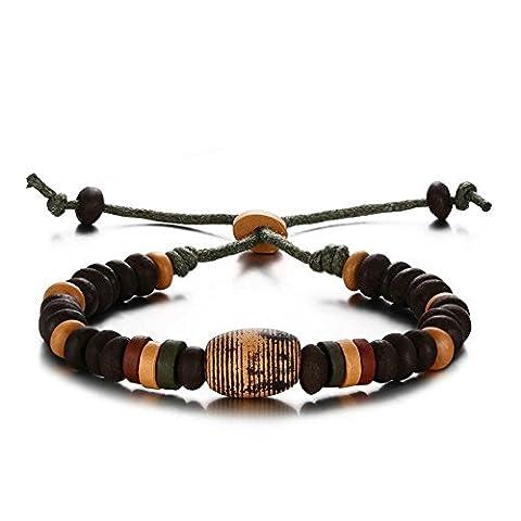 Onefeart Corde Bracelet Pour Femmes Hommes Porcelain Perles Tressé Corde Bracelet 29CM Noir Cadeau de Saint-Valentin