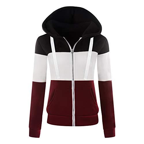 Newbestyle Jacke Damen Sweatjacke Hoodie Sweatshirt Pullover Oberteile Kapuzenpullover V Ausschnitt Patchwork Pulli mit Kordel und Zip -
