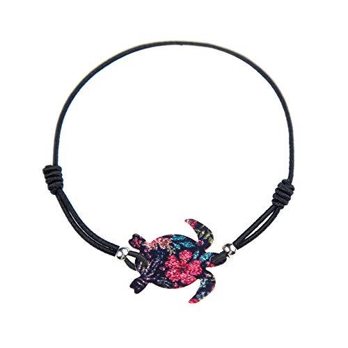 Made by Nami Armband Frauen Freundschaftsarmband Armbänder - Surfer Schmuck Damen mit Anhänger Schildkröte (Blume)