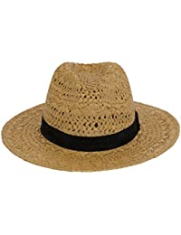 c8828dafaac Macahel Unisex 100% Paper Fedora Straw Hat with Thick Black Band