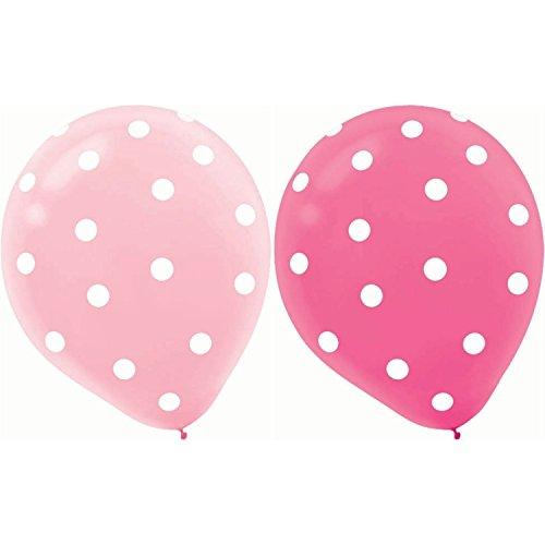 Wicemoon 20 Stück 12 Zoll Runde Helium Qualität Polka Dot Ballons Aufblasbare Latex Ballon für Jubiläum Hochzeit Valentines Party Dekoration - Dark Pink + Hellrosa