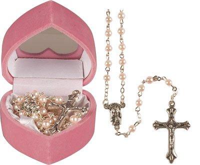 Baptême Cadeau Bébé Fille–Enfant chapelet de perles–rose effet perle chapelet Enfilade, y compris un feuillet pour apprendre à prier le rosaire