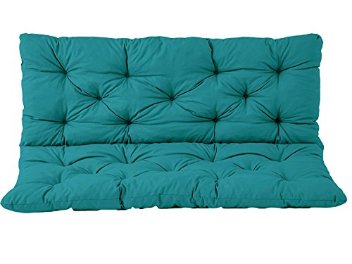 IRA Furniture HANKO 2 Seater Garden Bench Cotton Padded Low Back Cushion (Blue,150 x 98 x 8 cm)