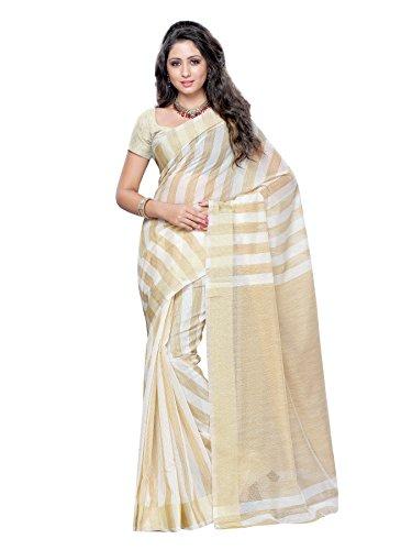 Mimosa Women Kanchipuram Cotton Silk Saree with Jute Stripes with Blouse (3039-7017-Hlfwhite, Off-White)