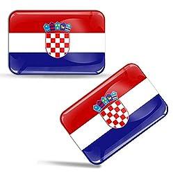 Biomar Labs® 2 x Aufkleber 3D Gel Silikon Stickers Croatia Kroatien Flagge Fahne Auto Motorrad Fahrrad Fenster Tür PC Handy Tablet Laptop F 43