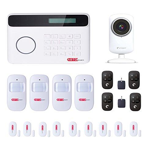 SZABTO Drahtloses GSM und PSTN Telefon-Linie Alarmanlage mit WiFi Netzwerk-Kamera,9 Tür-Sensor, 4 Bewegungsmelder und 4 Fernbedienungen Für Haussicherheit Mit deutscher Bedienungsanleitung