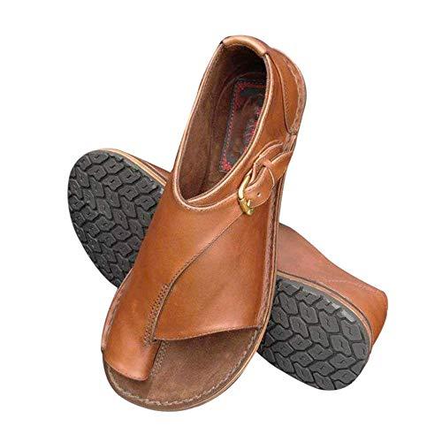 Goglor Comodi Sandali de Donna Estivi Zeppa Scarpe, Toe Bunion Dito del Piede Protettore PU Sandali con Tacco Basso, Viaggio Scarpe da Donna Piatte Strappy Comfy Platform Sandals