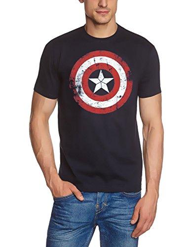 Captain America Shield distressed civil war Logo navy - T-Shirt, GR.L - Captain Green T-shirt