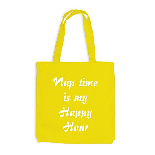 Jutebeutel - Nap Time is my Happy Hour - Schlafen Sleep Gelb