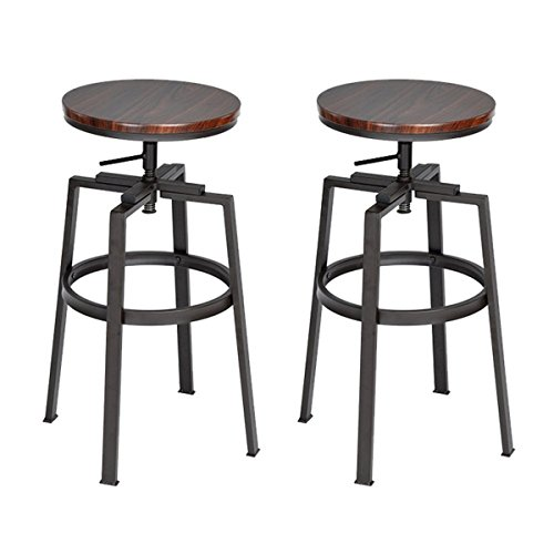 Fanilife - Taburetes, 2 unidades, redondo, parte superior de madera de pino, altura ajustable, giratorio, metal, diseño vintage