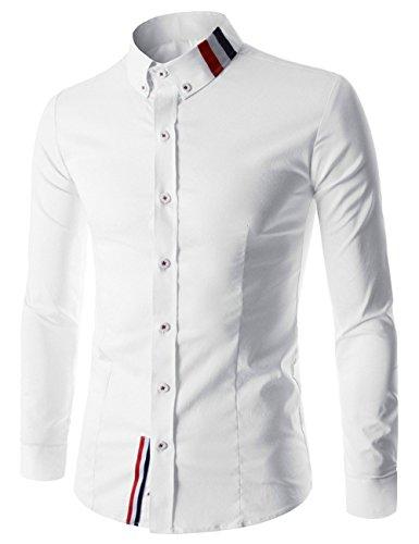 Haroty uomo camicie manica lunga stampate moda slim fit casual men shirts personalizzati fashion (xl, bianco)
