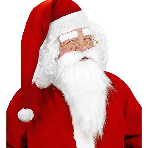 Widmann-1517M-Weihnachtsmann-Bart-mit-Schnurrbart-und-Augenbrauen-Unisex–Erwachsene-Wei-One-Size