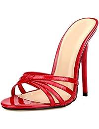 daf86bf63c6a OCHENTA Femme Mule Talon Haut Aiguille Hauteur 13cm Sexy Sandales Pointure  Grande Travesti