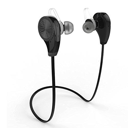 Auriculares Bluetooth 4.1, ZOETOUCH Auriculares Inalámbricos Estéreo con Micrófono Deportivos Resistente al Sudor para Correr hasta 6 Horas para iPhone, iPad, Samsung, Nexus, HTC etc - Negro