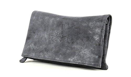 Fritzi aus Preußen Ronja Wing Vintage Clutch pochette donna Tasche 29 cm Jeans (Blue)