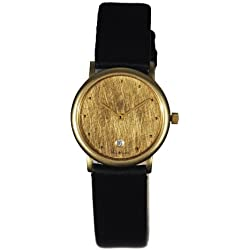 Stahl ST62211 Scratched Brushed Gold Plated Watch with Date Small Gold 12 Dots